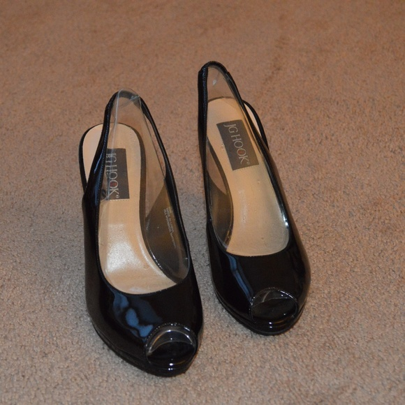 JG Hook Shoes | Black Patent Slingback Peep Toe Heels Size